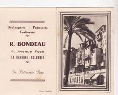 CALENDRIER 1956 / LA GARENNE COLOMBES / BOULANGERIE PATISSERIE BONDEAU / 4 AVENUE FOCH - Calendriers