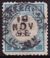 Volledig Kleinrondstempel OUWERKERK A/d A (KRHK0742) Op 1881-1887 Portzegels Lichtblauw/zwart Cijfer : 5 Cent NVPH  P 6 - Portomarken