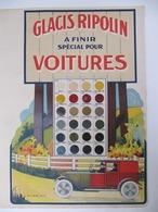Carton Publicitaire Ancien - Peinture Automobile - Glacis Ripolin, Echantillons De Couleurs - Manifesti