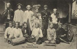 Indonesia, JAVA BATAVIA, Topeng Dancing Girl, Native Music Band (1910s) Postcard - Indonesië