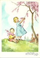 """Scrittori, Poesie, Versi (Ada Negri) """"... Rosea Nube Di Fior ... Immacolata ..."""" Bambini Colgono Rami Di Pesco - Scrittori"""