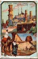 CHROMO CHOCOLAT CARDON  LE CAIRE CITADELLE & TOMBEAU DES MAMELUCKS  SPHINX & PYRAMIDE DE GIZEH - Altri