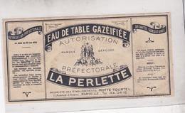 MARSEILLE / ARENC / RARE ETIQUETTE EAU DE TABLE GAZEIFIEE LA PERLETTE / TBE - Autres