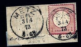 ALB-  TIMBRE EMPIRE ALLEMAND OCCUPATION ALS. LORR.- TIMBRE N° 16 SUR FRAGMENT- TAMPON METZ ST.P.E.- 1873 - Allemagne