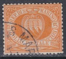 Saint-Marin N° 2 O  5 C. Orange, Oblitération Légère Sinon TB - Saint-Marin