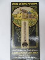 Vin De VOUVRAY, 37 - Marc Du Clos Pouvray, Distillerie Besombes - Thermomètre Publicitaire Hauteur 29,5 Cm - Plaques Publicitaires