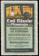 Memmingen: Elektrische Licht- Und Kraftanlagen Reklamemarke - Erinnofilie