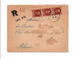 PETAIN SUR LETTRE DE CREIL OISE 1944 + GRIFFE - Marcophilie (Lettres)