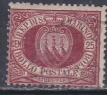Saint-Marin N° 5 O 25 C. Brun Carminé Oblitération Moyenne, Sinon TB - Saint-Marin