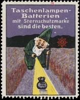 Taschenlampen-Batterien Reklamemarke - Erinnofilie