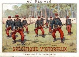 CHROMO SPECIFIQUE VICTORIEUX  AU REGIMENT  L'ESCRIME A LA BAIONNETTE - Trade Cards