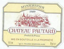 Etiquette Vin Chateau Pautard 1989 - Vin De Pays D'Oc