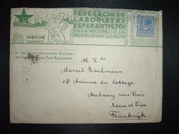 LETTRE Illustrée ESPERANTO TP PAYS BAS 12 1/2 CENT OBL.MEC.2 IV 1937? GRAVENHAGE - Esperanto