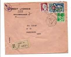 AFFRANCHISSEMENT COMPOSE SUR LETTRE A EN TETE RECOMMANDEE DE PARIS 49 1961 - Storia Postale