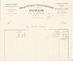 Belle Facture - Entête Publcitaire - Fabrique De Papiers Peints Durain à Epinal - 88 - Frankreich