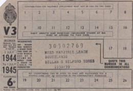 AS86 Form V3, Voluntary Pensions Insurance Card 1944/45 Contribution Year - Historical Documents