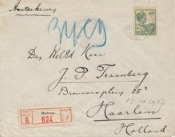 Nederlands Indië - 1927 - 40 Cent Wilhelmina, Enkelfrankering Op R-cover Van Malang Naar Haarlem / Nederland - Niederländisch-Indien
