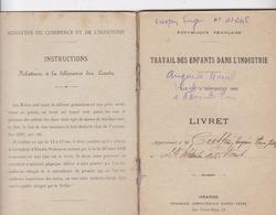 VAR / NANS LES PINS / LIVRET / TRAVAIL DES ENFANTS DANS L INDUSTRIE 1920 / EUGENE CRESPIN 14 ANS - Historical Documents