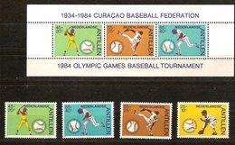 Antilles Néerlandaises Antillen 1984 Yvertn° 707-711 Et Bloc 27  *** MNH Cote 19  € Sport Base-ball - Antilles