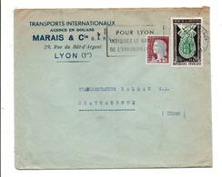 AFFRANCHISSEMENT COMPOSE SUR LETTRE A EN TETE DE LYON 1961 - Marcophilie (Lettres)