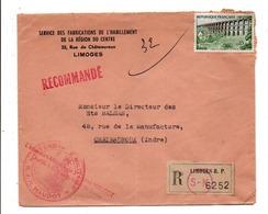 N°1240 SEUL SUR LETTRE A EN TETE RECOMMANDEE DE LIMOGES 1961 - Storia Postale