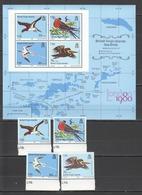 X348 1980 BRITISH VIRGIN ISLANDS FAUNA BIRDS #387-90 1SET+1KB MNH - Birds