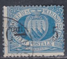 Saint-Marin N° 8 O  5 C. Sur 10 C. Bleu  Oblitération Moyenne, Léger Piquage à Cheval, Sinon TB - Saint-Marin