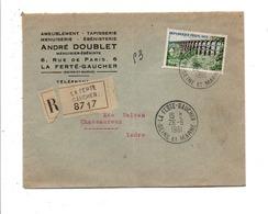 N°1240 SEUL SUR LETTRE A EN TETE RECOMMANDEE DE LA FERTE GAUCHER SEINE ET MARNE 1961 - DOS INTERRESSANT - Marcophilie (Lettres)