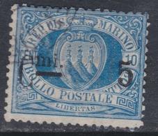 Saint-Marin N° 8a O  5 C. Sur 10 C. Bleu Chiffres Gras Oblitération Moyenne, Sinon TB - Saint-Marin