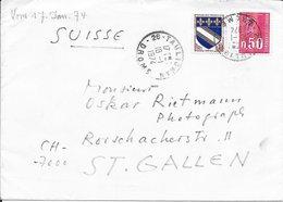 DROME 26  - TAULIGNAN  - CACHET RECETTE R A9 - ARRVEE CAEN RP  R A9 -  POUR LA SUISSE  -  1974 - Bolli Manuali