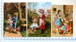 3 PETITES CHROMOS   LITHOGRAPHIES ..........ENFANTS ......FAISANT LA CUISINE.......ÉCUREUIL - Old Paper
