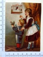 CHROMO   LITHOGRAPHIE .........JEUNES.ENFANTS ... CAGE D'OISEAU - Autres