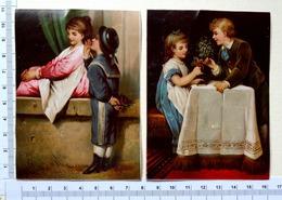 2 CHROMOS   LITHOGRAPHIES .........JEUNES.ENFANTS ... OFFRANDE DE FLEURS - Autres