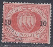 Saint-Marin N° 11 O  10 C. Sur 20 C. Rouge Oblitération Très Faible, Une Dent (bas) Un Peu Court Sinon TB - Saint-Marin