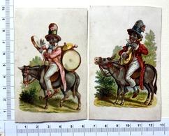 2 CHROMOS   LITHOGRAPHIES CARTONNÉES .........MUSICIEN NOIR SUR UN ÂNE...BANJO...TIMBALE - Autres
