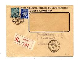 Lettre Recommandée Puteaux Sur Petain Mercure Entete Electricité Ouest - Postmark Collection (Covers)