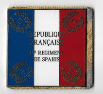 DRAPEAU 1° REGIMENT DE SPAHIS En Métal Doré - Drapeaux