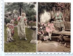 2 CHROMOS   LITHOGRAPHIES  ALLEMANDES.....SCÈNES ROMANTIQUES......FEMME ET ENFANTS ....ÉCUREUIL...OISEAU - Autres