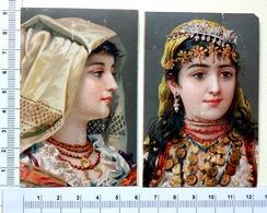 2 PETITES CHROMOS   LITHOGRAPHIES ....FEMMES AVEC UNE COIFFE FOLKLORIQUE - Old Paper