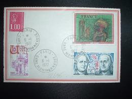 ETIQUETTE DE COLIS TP CARZOU 2,00+ INDEPENDANCE USA 1,20+ USSEL 2,00+ M. DE BEQUET 1,00 OBL.6-1 1977 PARIS GARE MONTPARN - Marcofilia (sobres)