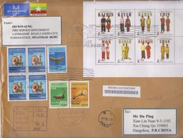Myanmar 2019 Air Registered Mail Cover #4/National Costume MS And High Value Musical Instrument Definitive Stamps - Myanmar (Birma 1948-...)