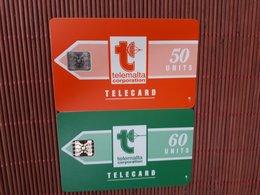 2 Phonecards Malta 50 & 60 Units Used  Rare - Malte