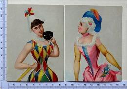 2  CHROMOS   LITHOGRAPHIES ....FEMME EN COSTUME DE CARNAVAL...MASQUE...LOUP - Autres