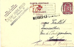 LE 0155. CP 119M 1 CHARLEROI 13.7.42 + GRIFFE MERBES-LE-CHÂTEAU V. Anderlues - Réexp.à Fontaine L' Evêque.TB - Linear Postmarks
