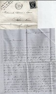 LETTRE MARCOPHILIE - Période Classique - BAYONNE à SALIES DE BEARN + TIMBRE 20ct OBLITERATION LOSANGE 1866 - Poststempel (Briefe)