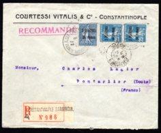 1922 Recommande De Constantinople Pour La France - Levant (1885-1946)