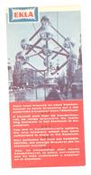 """BRUXELLES Exposition 1958 - Expo 58 - Feuillet Publicitaire  - Bières  """"EKLA """" , Bière, Brasserie,... (b260) - Publicités"""