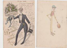 2 Cartes Fantaisie Dessinées /Homme Avec Un Bouquet De Fleurs ; Homme Avec Un Ballon Ovale - Humour