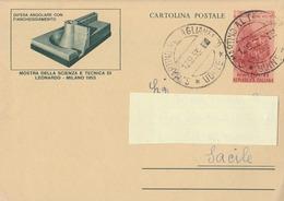 Cartolina Postale - Leonardo Da Vinci - 1953  - Viaggiata - 1946-.. République