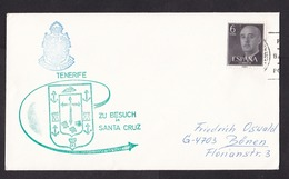 Spain: Cover To Germany, 1 Stamp, Cancel German Frigate Ship Visit Tenerife (traces Of Use) - 1931-Tegenwoordig: 2de Rep. - ...Juan Carlos I